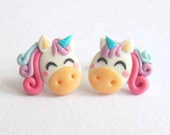 Rainbow Unicorn Earrings, Unicorn Jewelry, Horse Earrings, Horses, Pony Jewelry, Ponies Earrings, Girls Earrings Girly Jewelry Fimo Earrings