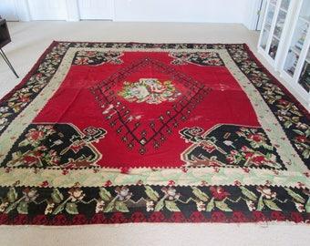 Huge Red Black Rose  Antique Kilim Style Flat Weave Kazakh Rug Shabby