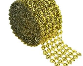 Flower Rhinestone Diamond Mesh Wrap Ribbon, 4-inch, 10 yard