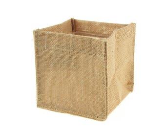 Natural Burlap Cube Square Vase Holder