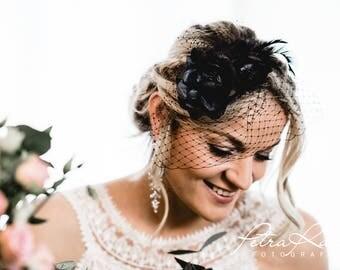 N38 Bridal Veil, wedding hairstyles, Bohos, bridal hairstyles, hair ornaments, comb, bridal headpieces, Fascination, vintage, ivory