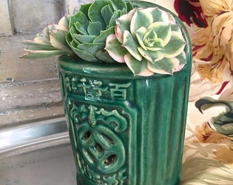 Chinese Wall Pocket, Asian Green Glazed Planter, Wall Planter