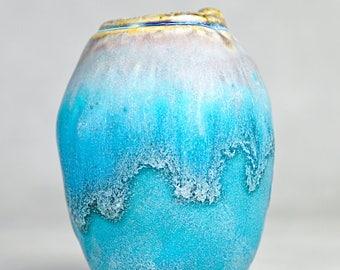 Studio Pottery No. 30, Hand Built Stoneware Miniature 'OIL URN' FORM Cabinet Vase, 2017