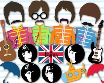 Instant Download Beatles Photo Booth Props, Pop Party Photo Booth Props, 60's Party Photo Booth Props, Music Party Photo Booth Props 0028