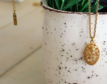 Cage Necklace, Cage Pendant, Gold Filled Chain Necklace, Crystal Cage, Lace Pendant, Long Charm Necklace, Charm Necklace, Oval Pendant