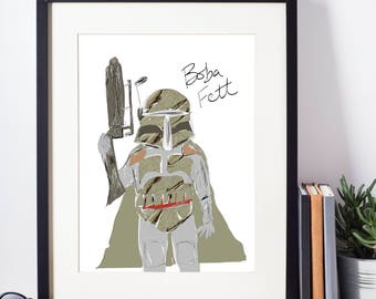 Boba Fett Bounty Hunter Star Wars Illustrated Print Limited Edition