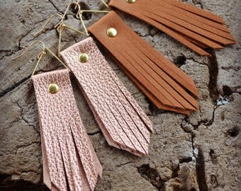 Leather Fringe Earrings, Statement Earrings, Rose Gold Earrings, Brown Leather Earrings