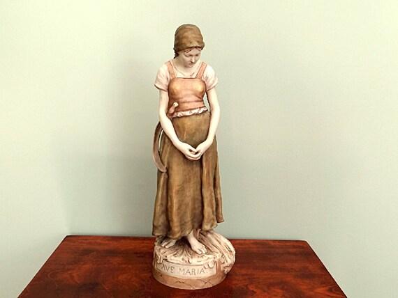 Antique Royal Dux Figurine Ave Maria Polychrome Porcelain