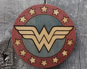 Wonder Woman Wood Coaster | Rustic/Vintage | Hand Stained and Glued | Comic Book Gift | Justice League