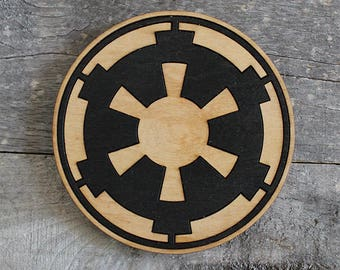 Galactic Empire Wood Coaster   Rustic/Vintage   Hand Stained and Glued   Comic Book Gift   Star Wars
