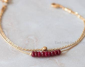Handmade petite style 14K Gold plated natural stone garnet deep red January birthstone bracelet birthday gift beaded chain bracelet
