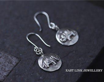 925 sterling silver lucky elephant coin earrings drop dangled hoop earrings French hook earrings womens gift