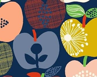 Hand Picked - Apples Navy - Carolyn Gavin of Ecojot - Windham (43110-1) - Organic Cotton