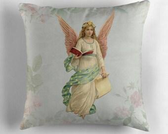 Angel Decor, Angel Pillow, Shabby Chic Decor, Old Fashioned Decor, Shabby Chic Pillow, Pastel Pillow, Vintage Cushion, Botanical Flowers