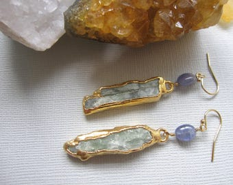 Green Kyanite Earrings, Boho Chic, Electroplated in Gold, Kyanite Stones, Tanzanite Beads, Green Stone Earrings, Gift for Her, Gold Filled