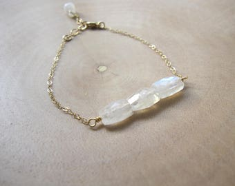 Rainbow Moonstone Dainty Bracelet, Faceted Moonstone Rectangles, Minimalist Jewelry, Gifts Under 50