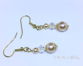 Beautiful Champagne Pearl Drop Earrings made with Swarovski Crystals | Bridesmaids Gifts | Bridal | Elegant | Stylish | Simple