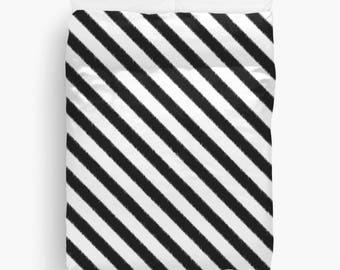Black and White Striped Duvet Cover, Ikat Bedding, Girls Bedroom Decor, Dorm Room, Teen Girl Room Decor, Girls Bedding, Twin, Queen, King