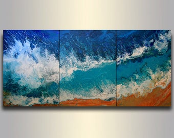 59 Extra Large SEASCAPE Triptych Waves ABSTRACT Painting Ocean Blue Landscape XL Original Acrylic Painting on canvas Seascape White Waves