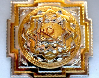 "Energized Sri Shree Meru Yantra 3D Ashtadhatu (mix of 8 metals) gold/silver 4x4"" 840 Gms- Spiritual powers Peace Harmony Enormous wealth"