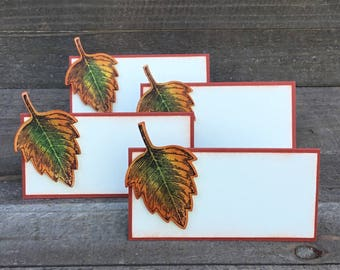 Thanksgiving Place Cards, Thanksgiving Food Labels, Leaf Place Cards, Leaf Food Labels, Thanksgiving Decor, Thanksgiving Table Decor