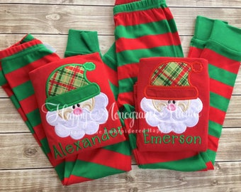 Monogrammed Christmas Santa Hat Plaid pajamas Xmas with name Baby Toddler Kid Christmas photos Children's personalized pjs Family Pajamas