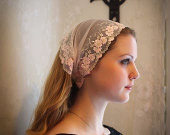 Evintage Veils~ So Soft Headwrap Embroidered Flower Blossom Lace Headband Kerchief Tie-style Head Covering Church Veil