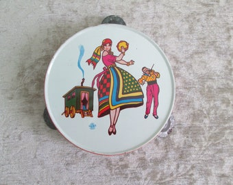 Tin Toy Tambourine/Noisemaker US Metal Toy Mfg Co  1960s Kitsch  #17211