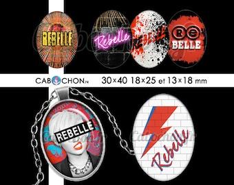 Rebelle • 45 Images Digitales OVALES 30x40 18x25 13x18 mm rebelle stardust rock punk eclair mur épingle nourrice pink floyd images numerique