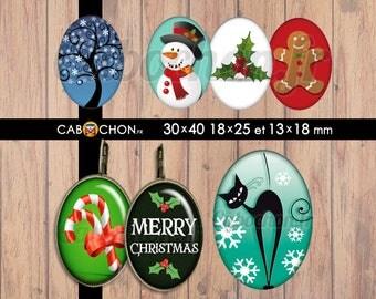 C'est Noël • 45 Images Digitales OVALES 30x40 18x25 13x18 mm arbre tree life bonhomme neige chat candy merry christmas pain épices flocon