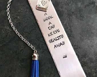 ON SALE Stamped Metal Bookmark A Book A Day