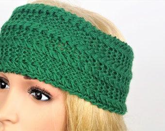 80% Wool,Green Ear Warmer,Knitted Winter Headband ,Knit Crochet Headband, Ear Warmer,Brown Headband,Crochet Headband,Knit Turban Headband