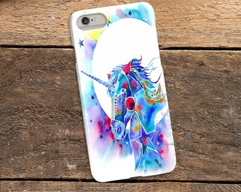 Watercolor Unicorn, 3D Phone Case, Iphone 6 7 7+ Samsung Galaxy S5 Thin Hard Case, Personalized Mobile Full Wrap