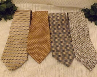 Vintage European Men's Silk Ties Foulard Patterns Set of 4