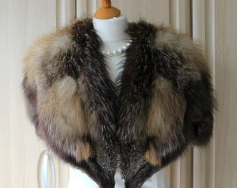Vintage Real Cross Fox Fur Shoulder Stole, Wedding / Occasion SS4