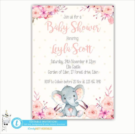 Girl elephant baby shower invitation elephant invite elephant baby il570xn filmwisefo Images
