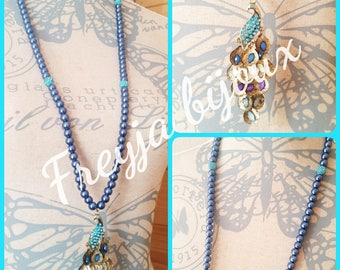 Blue beads and Peacock bird pendant necklace