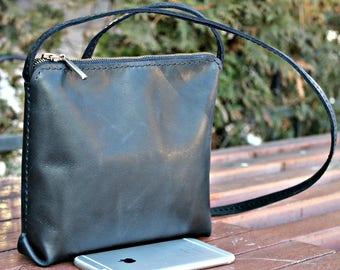 black purse leather bag handbag Black leather purse - soft slouchy black handbag - cross body purse hand stitched