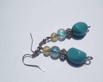 Blue beaded earrings, Blue earrings, Turquoise earrings, Acrylic earrings