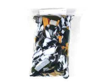 Fleece scraps for pets- zebra, yellow & green mix - great for small animals to play and sleep in - washable -nesting material- READY TO SHIP