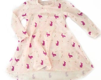 Bunny Print - T-Shirt Dress with high low hem for baby and toddler girls sizes newborn to 5/6T