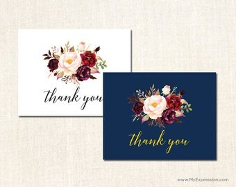 Elegant Floral Thank You Cards - Rustic Country Bridal Shower Thank You Cards -Navy or Burgundy - Set of 24 with envelopes