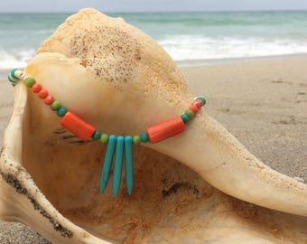 Turquoise and coral choker