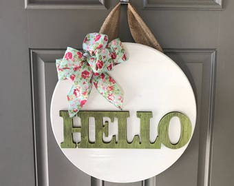 Hello Door Hanger, Front Door Decor, Door Sign, Hello Door Wreath, Spring Door Hanger, Front Door Sign, Hello Spring, Spring Decor
