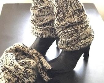 Slouchy Leg Warmers - Stretchy - Knitted - Black Creme - Leg Warmers - Calf length High