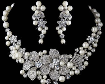 Bridal Jewelry - Pearl jewelry Set - 2 piece Set ~ Pearls and Crystals ~ Brides Jewelry Set, Wedding Gift Pearl Jewelry Set