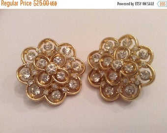 ON SALE Crown Trifari earrings rhinestones fluted goldtone clip ons round large collectible dazzling festive classic woman gift