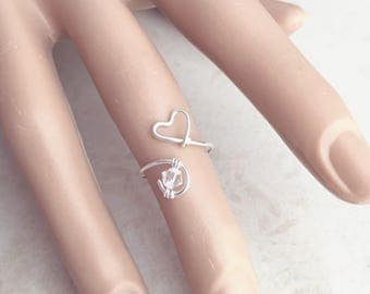 Heart Ring, Love, Midi, Knuckle Ring, Sterling Silver Ring, Statement, Diamond, Solitaire, Wire, Thin Ring, Stacking