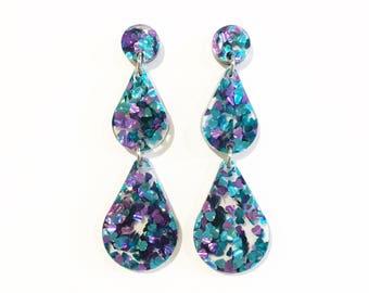 Turquoise and purple glitter raindrop earrings, laser cut earrings, lasercut acrylic, glitter earrings, geometric earrings