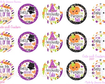 Halloween- Bottle Cap Images- INSTANT DOWNLOAD- 1 Inch Circles- Wickedly Cute- Pumpkin Butt- Batty- Give Me Candy- Baby Boo-Halloween Saying